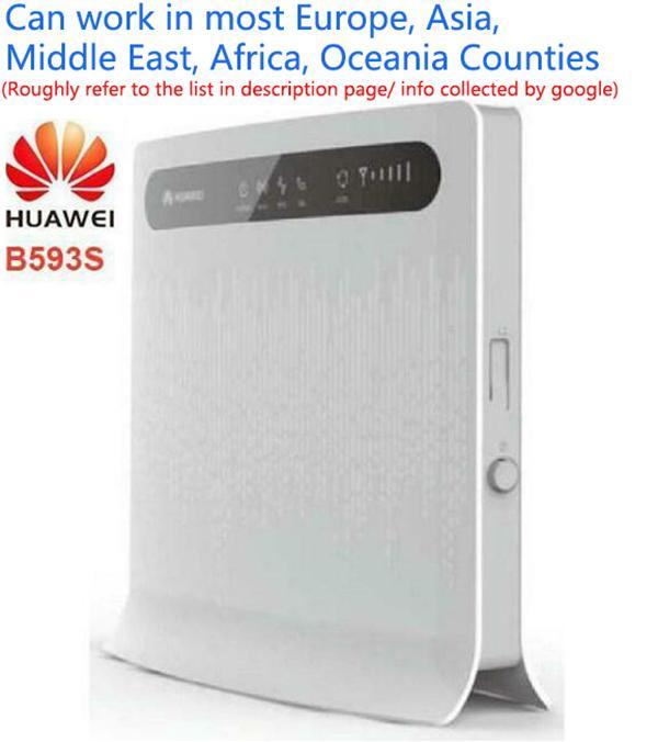 مقفلة Huawei B593 4G LTE TDD / FDD 4G جهاز التوجيه اللاسلكي 100Mbps wifi الساخنة نقطة سيم بطاقة SIM B593U-12