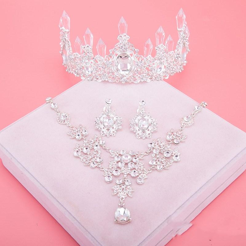 2021 Headpieces Crowns Necklace Earrings Alloy Crystal Sequined Bridal Jewelry Accessories Wedding Tiaras Hair