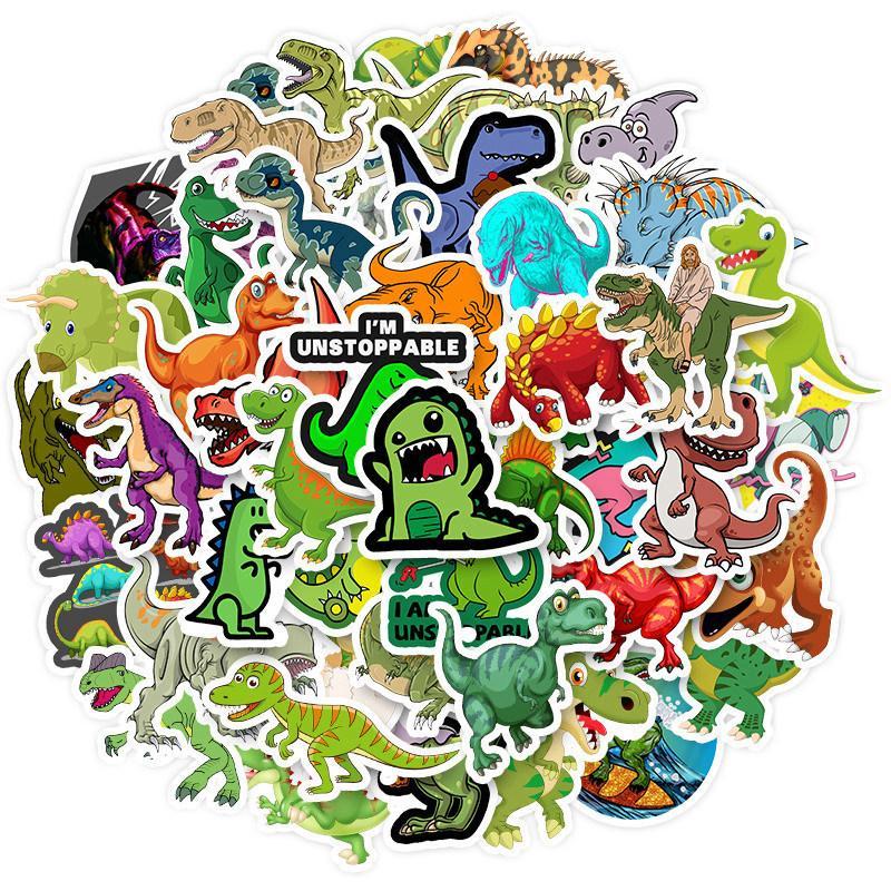50 비 반복적 인 장식 스티커 방수 이동식 귀여운 공룡 만화 트롤리 케이스 작은 신선한 믹스 스티커 사용자 정의