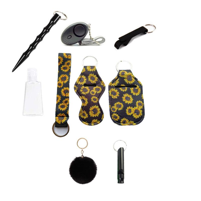 9 PC 방어 키 반지 세트, 알람, pompom, 손 소독제, 손목 끈, 립스틱 키 체인, 휘파람, 오프너, 30ml 빈 병을위한 자기 방어 키 체인