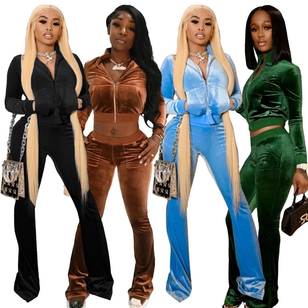 Velours solide Velvet Tracksuits ActiveWear Femmes Two Piece Sport Sport Fermeture à glissière à manches longues Manteau à manches longues et Pantalon de Bell Pantalon de velours