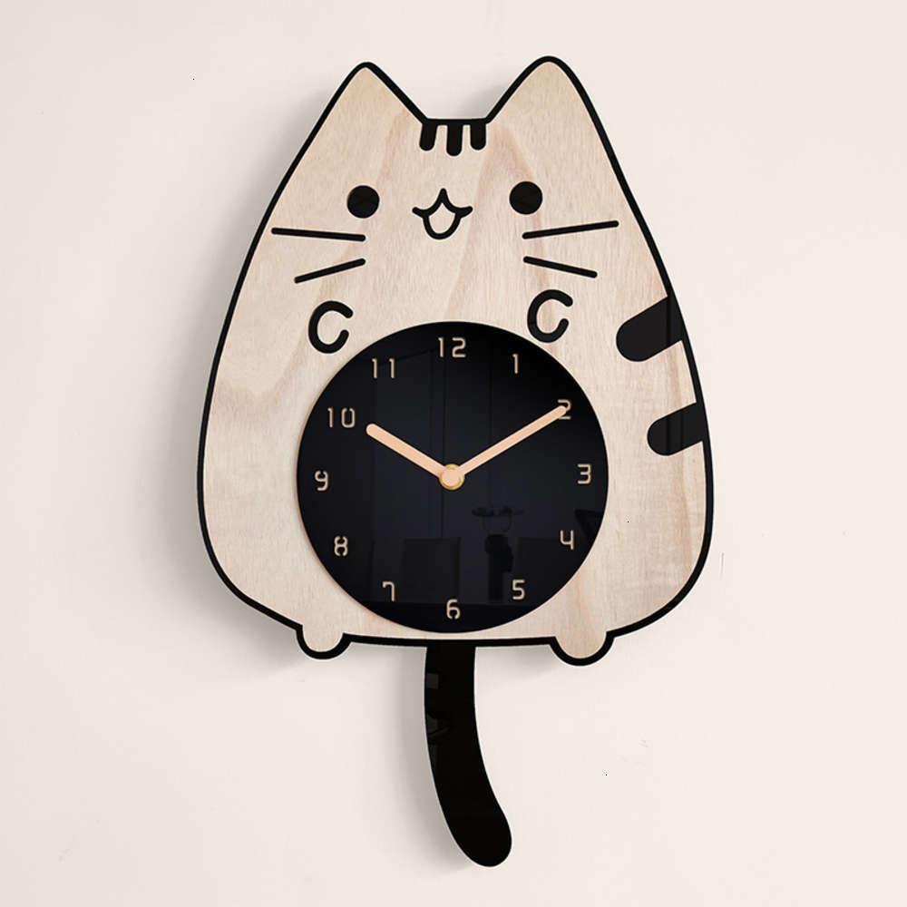Relógios de relógio de relógios Decoração de madeira Relógio de madeira Dos Desenhos animados Menina Children's Room Gato Cauda Cauda Criativa Balanço Balanço ClockFksv