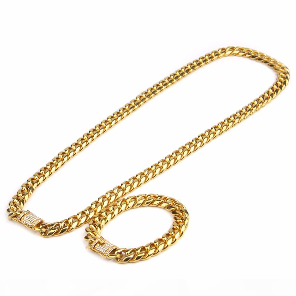 10mm Mens Cuban Miami Link Bracelet Chain Set Rhinestone CZ Clasp Stainless Steel Gold Hip Hop Necklace Chain Jewelry Set