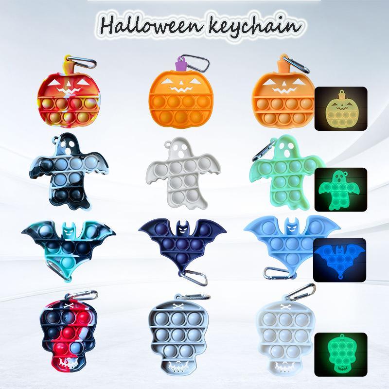 Fidget Toys Sensory Christmas halloween Pumpkin Bat Ghost Luminous Keychain Push Bubble Anti Stress Children Adults Decompression Toy Surprise wholesale