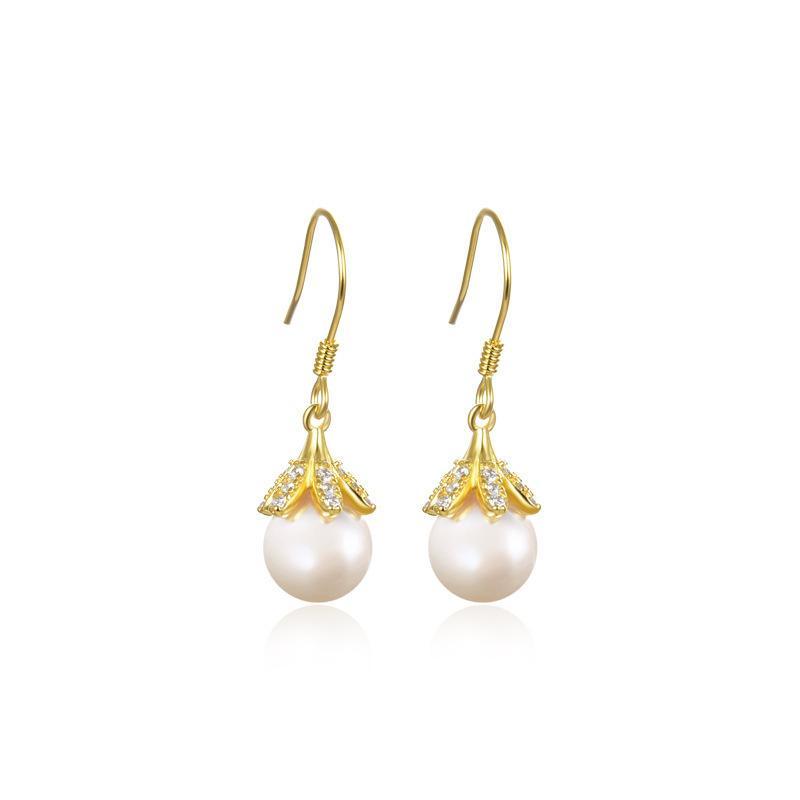 Pearl Stud style earrings S925 silver pearl women's fashion diamond inlaid Earrings