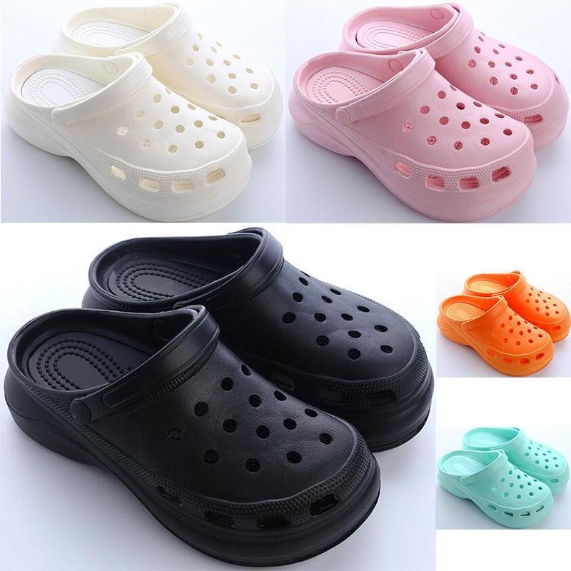 2021 Womens 여름 두꺼운 슈즈 홀 신발 숙녀 높이 증가 신발 검은 흰색 오렌지 핑크 소녀 여성 해변 클래식 샌들 슬리퍼 11