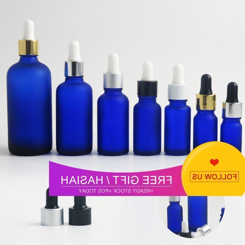 12 x 100ml 50ml 30ml 20ml 15ml 10ml 5ml Frost blue essential oil bottle 1oz glass Piepette dropper