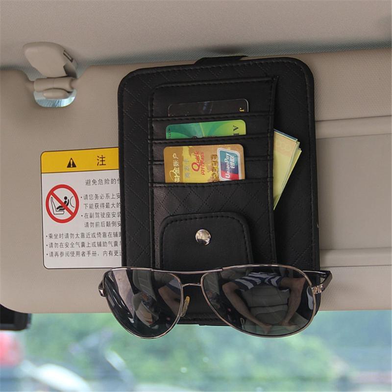 Car Organizer Auto Sun Visor Card Ticket Pouch Pocket Sunglasses Holder Multi-Purpose Styling Accessories