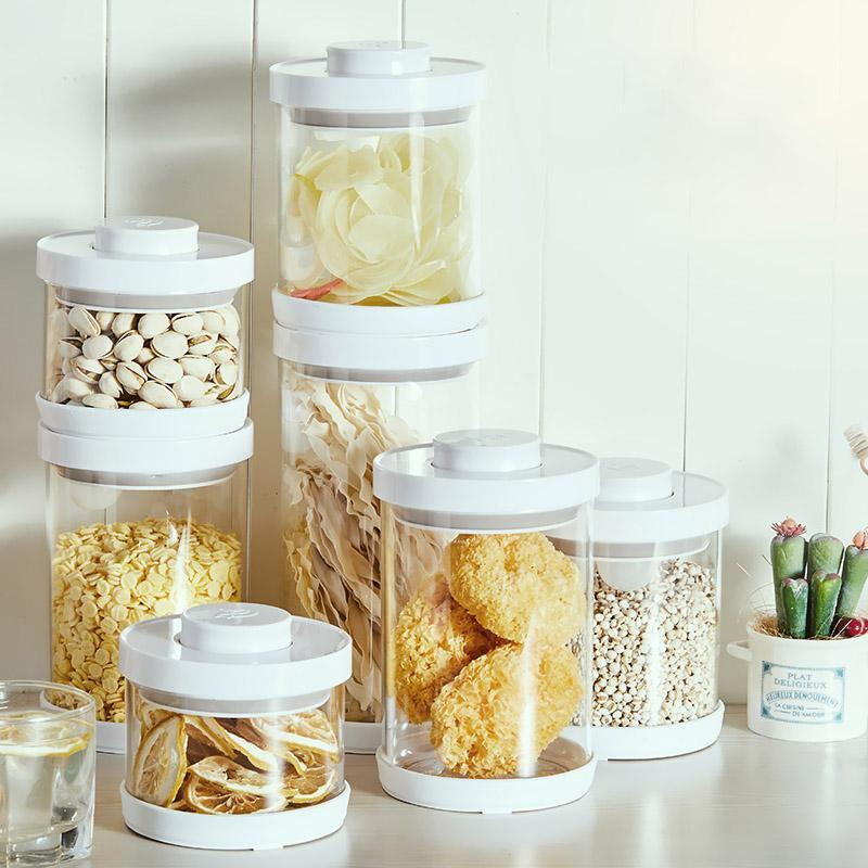 Storage Bottles & Jars Transparent Press Style Airtight Glass Box Grains Nuts Tank Spice Candy Kitchen Sorting