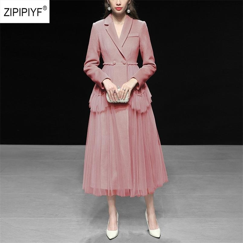 Sheer Mesh Long wool Coat Double Breasted Turn Down Collar Full Sleeve Fashion Dress VINTAGE Drapped Outerwear AB99 210524