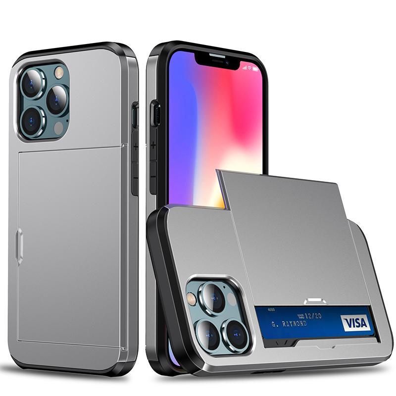 Deluxe PC + TPU Armor Funda a prueba de golpes Titular de la tarjeta de crédito a prueba de golpes Diapas de doble capa cubierta de doble capa para iPhone 13 Pro Max 12 Mini 11 XS XR x 8 7 6 6S PLUS SE SE