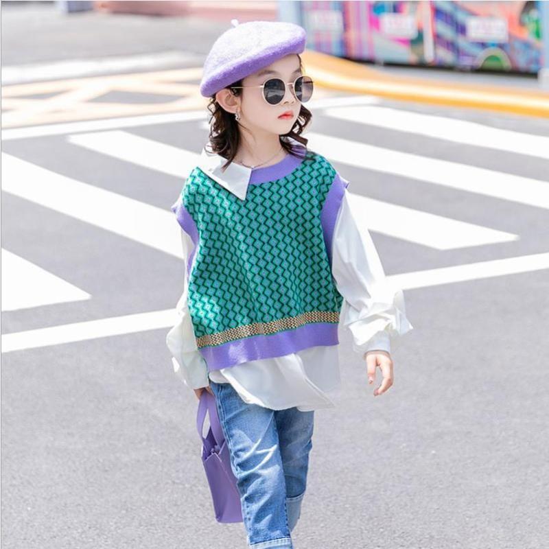Baby-Frühlingsherbst-lange Patchwork-Pullover-Kinder-Fake-Fake Zwei Strickspitzen Kinder Oberbekleidung Overalls WZ119 Pullover