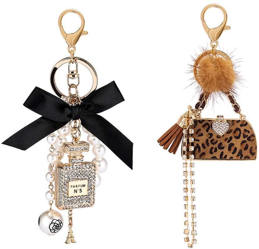 Objetos decorativos figuras mulheres keyrings personalizado 2 pack diamond keychain + leopardo arco-nó pérola bolsa dourada fofa para