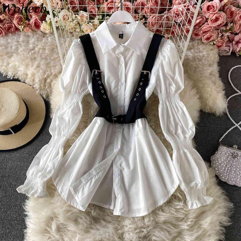 Kadınlar Casual Tüm Maç Iki Parça Set Siyah Kemer Yelek + Uzun Puf Kollu Beyaz Gömlek Bluz Kore Serin Streetwear 210422