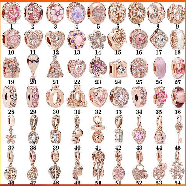 S925 sterling silver rose gold beads Pandora style bracelet female DIY fixing clip cat eye crown heart pendant loose bead