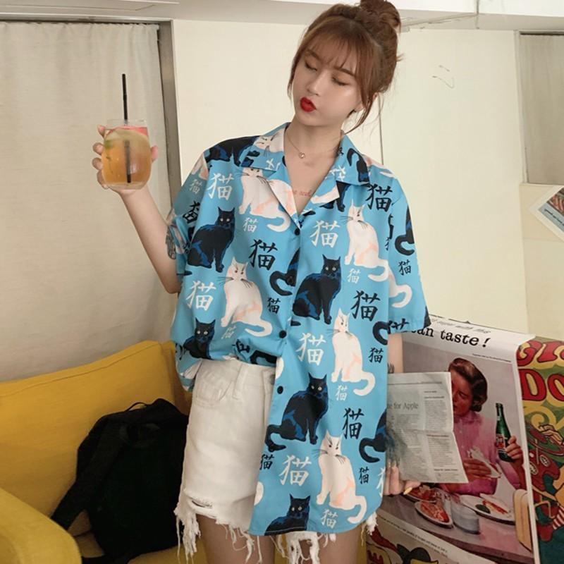 Harajuku Blouse Women Cat Print с коротким рукавом рубашка лето свежий тренд дикая рубашка кнопка свободно случайные ежедневные рубашки X0521