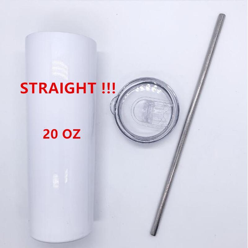 DROIT! 20 oz SUBLIMATION Skinny Tumblers avec bouteilles d'eau en acier inoxydable de paille Double gobelets extérieurs isolés Tasses DHL expédition FY4275
