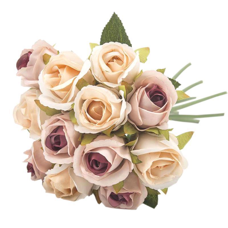 Декоративные цветы венки 12 головы искусственный корейский стиль роз цветок моделирования ткань поддельных стопов свадьба свадебный букет домашняя вечеринка декабря