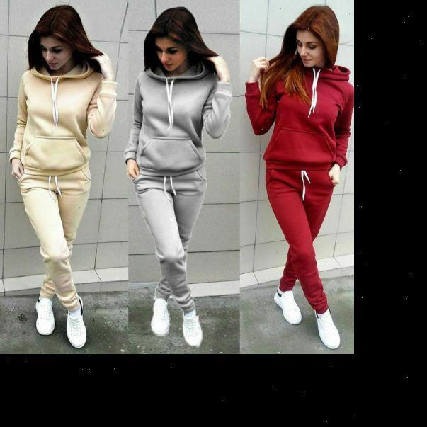 여자 스웨터 2pcs 트랙 슈트 여성 Tracksuits 후드 티 여성 바지 세트 스포츠 착용 캐주얼 양복 세트