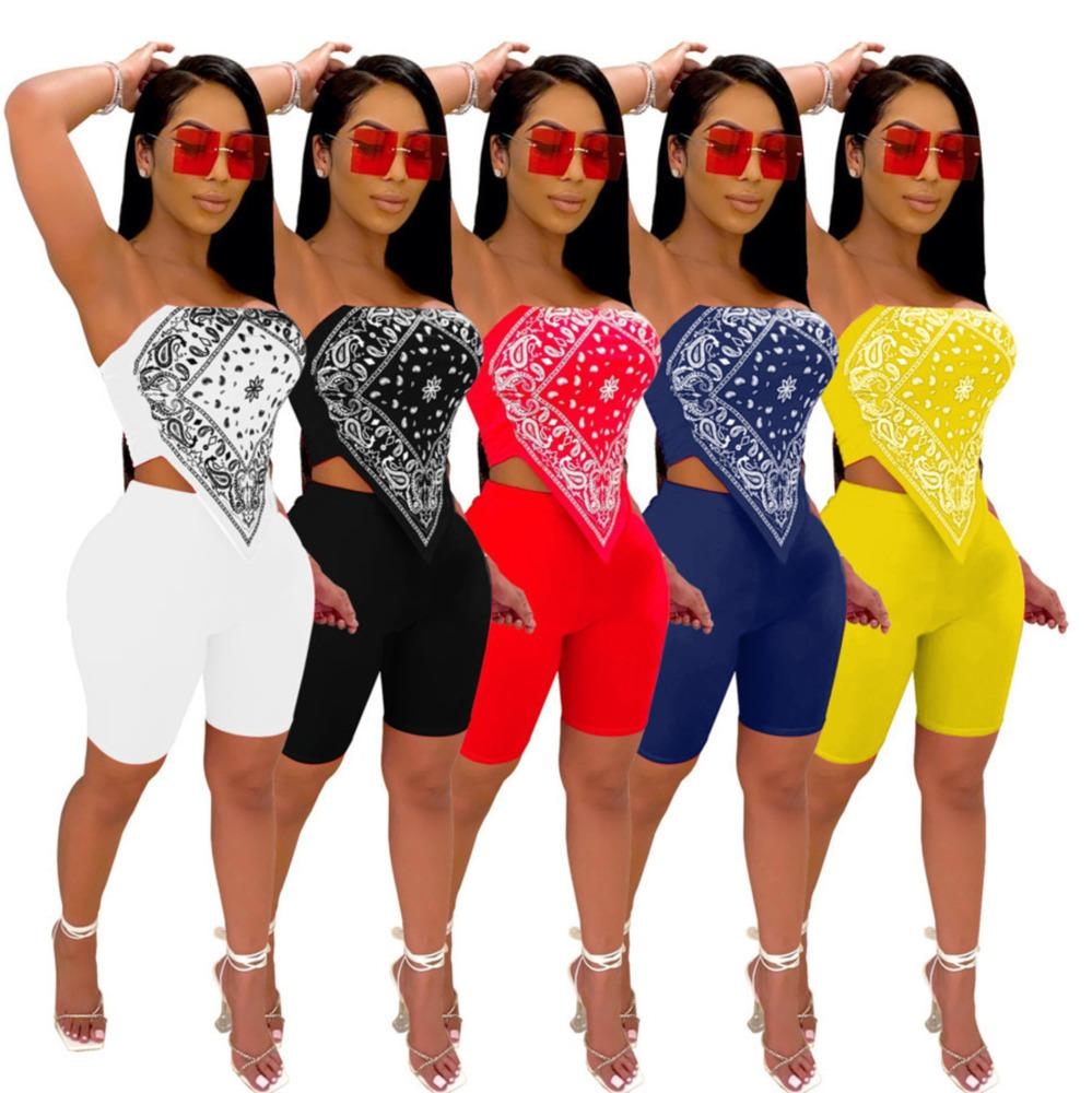 2021 Summer Women Tracksuit Two Piece Set Totem Print Bellyband Sleeveless Crop Top and Shorts Party Club 2 Piece Outfits y385