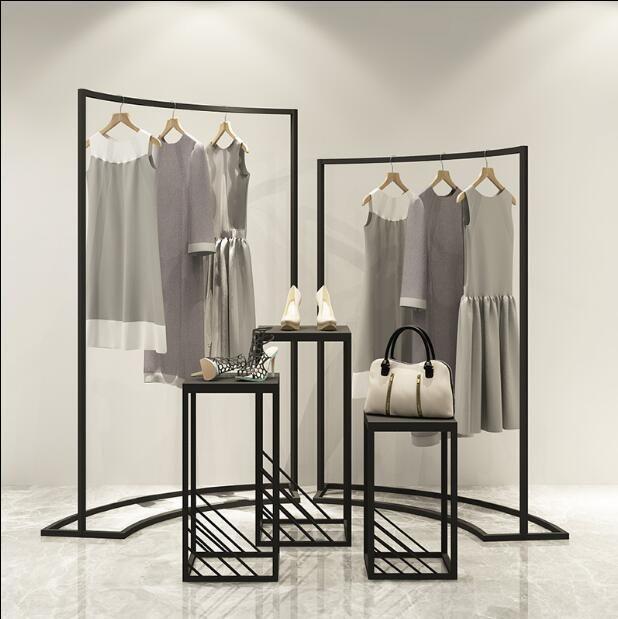 Aufhänger Racks Bekleidungsgeschäft Display Rack in der Inselschrank Damen Shop Horizontal Bar Eisen Kunst