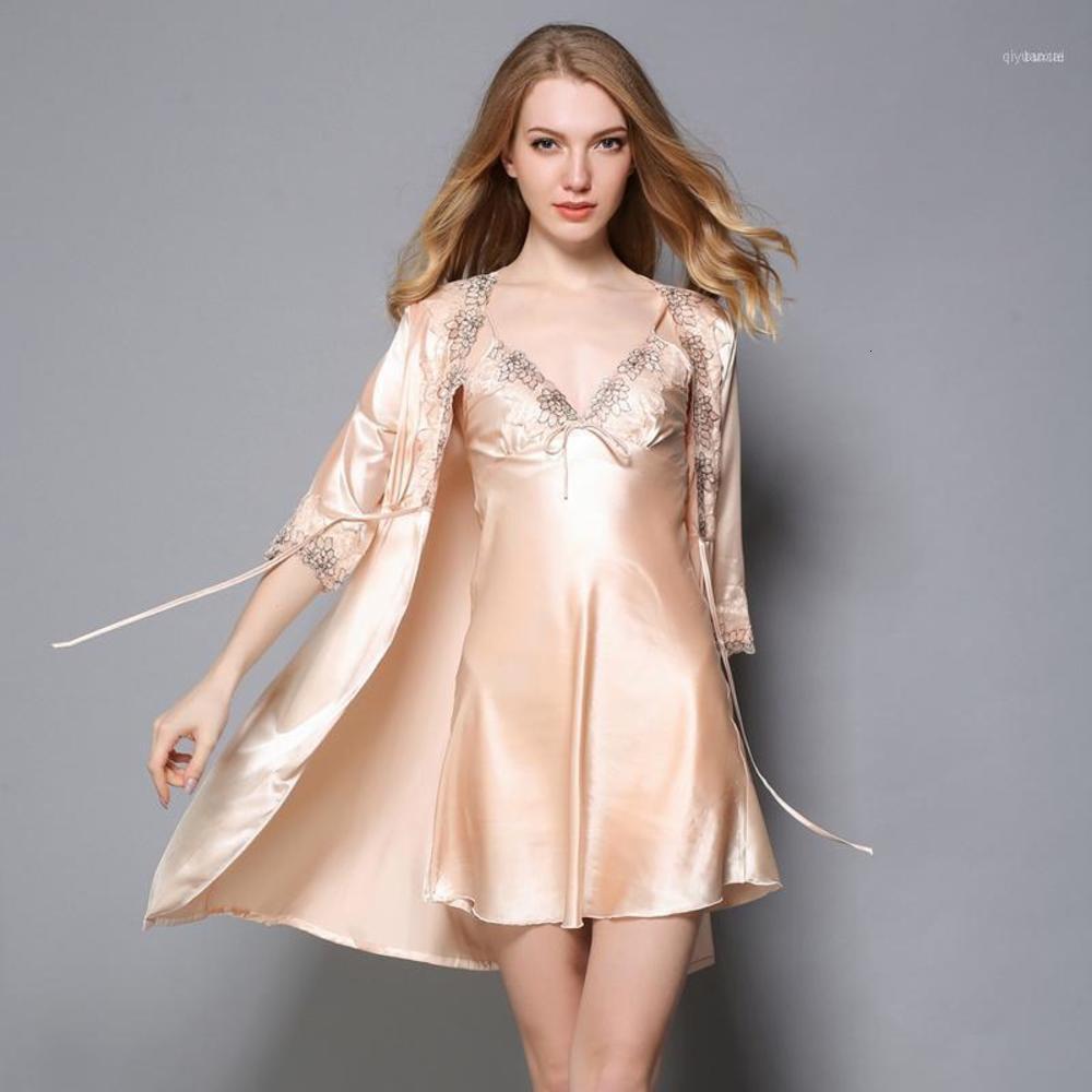 Silk Robe Kleid Sets Lace Mini Nachtkleid + Bademantel Frauen Satin Nighties Sexy V-Ausschnitt Nachtkleid Brautjungfern beige Floral11