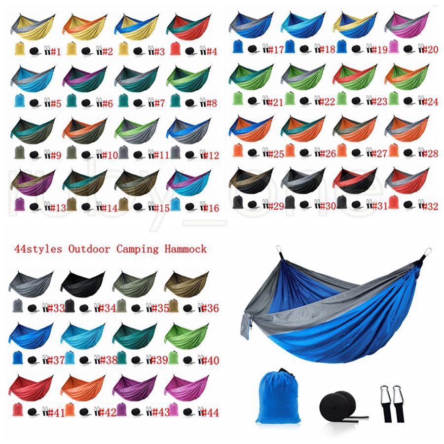 Outdoor Parachute Tuch Hängematte Faltbare Feld Camping Swing Hängende Bett Nylon Hängematten mit Seilen Carabiners 44styles Seashipping Rra4243