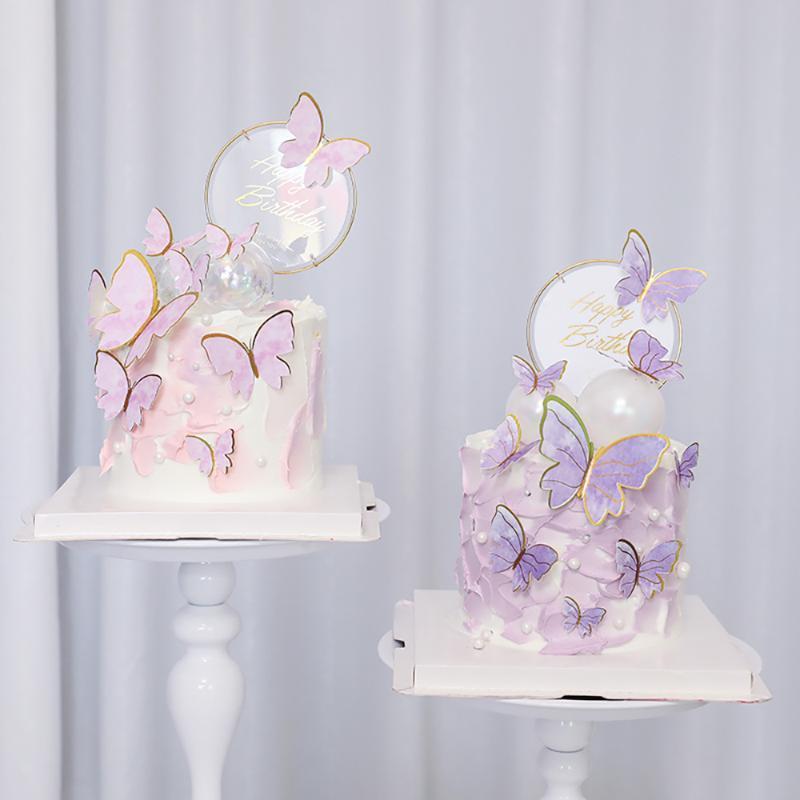 عيد ميلاد سعيد كعكة الديكور الديكور اليدوية رسمت فراشة توبر لحفل زفاف الطفل الاستحمام الاحتفالات الأخرى