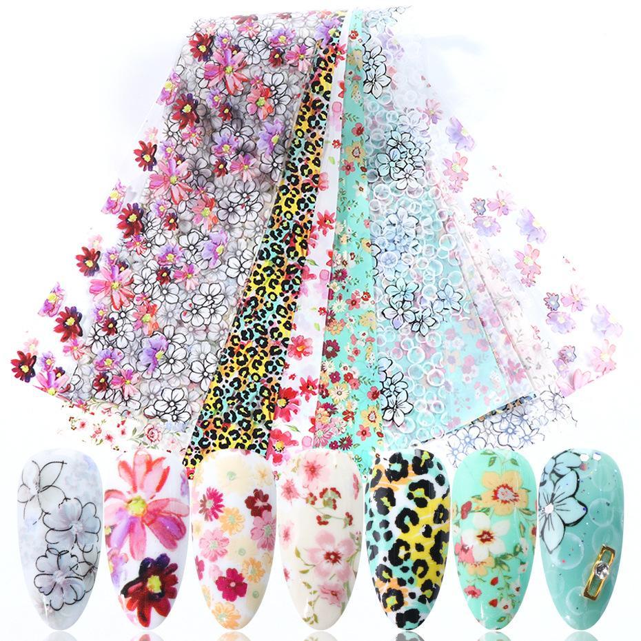 ملصقات الأظافر الجمال ليوبارد طباعة صغيرة الأزهار المائية زهرة نجمية السماء ورقة