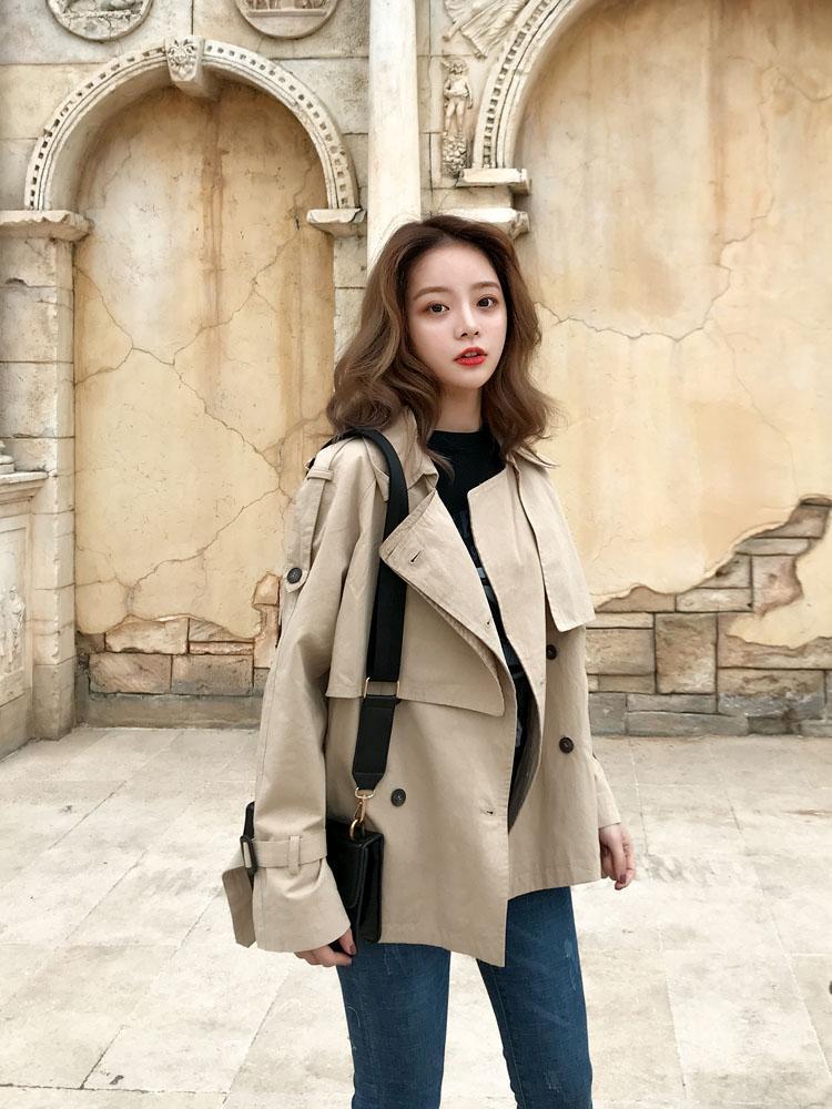 Short Windbreaker Women's Small Waitmore Coat Student Korean Loose Lab Women Womens Fashion Trench Coats