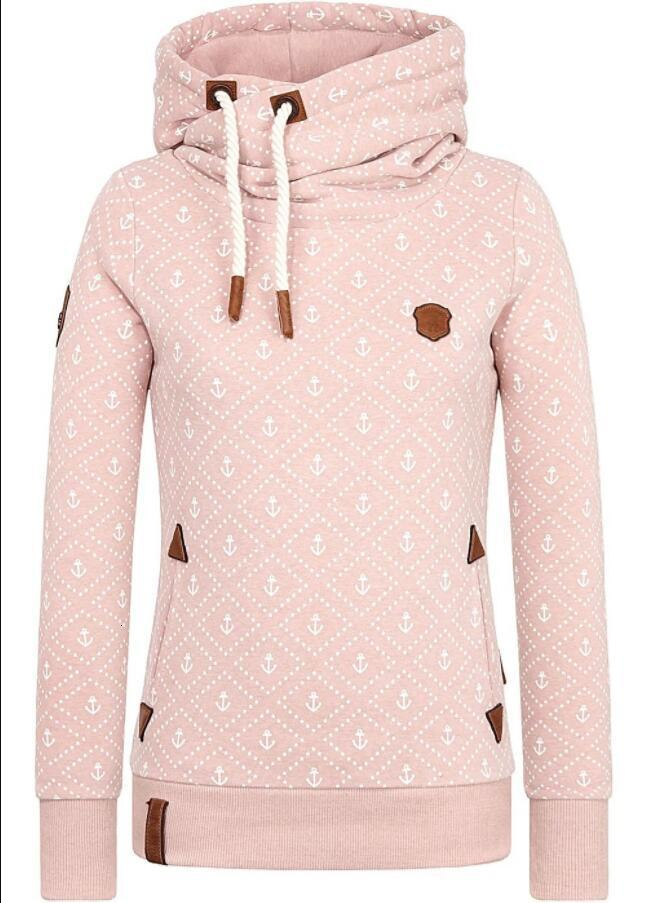 Ankerdruck mit Kapuze Loose Sport Fleece Damen Pullover im Herbst und Winter 2020