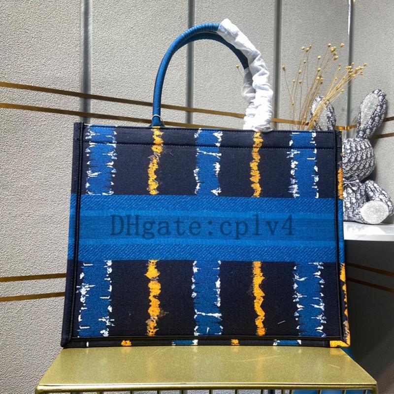 Wholesale bolsas Normal Qualidade Classic Livro Colorido Totes Bag Designer Bolsa Bordada Bolsa Bordada Grande Capacidade Sacos de Compras de Canvas