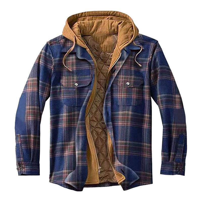 Giacche da uomo con cappuccio uomo bottone giù camicia a plaid uomo in velluto giacca di peluche caldo uomo invernale e cappotti