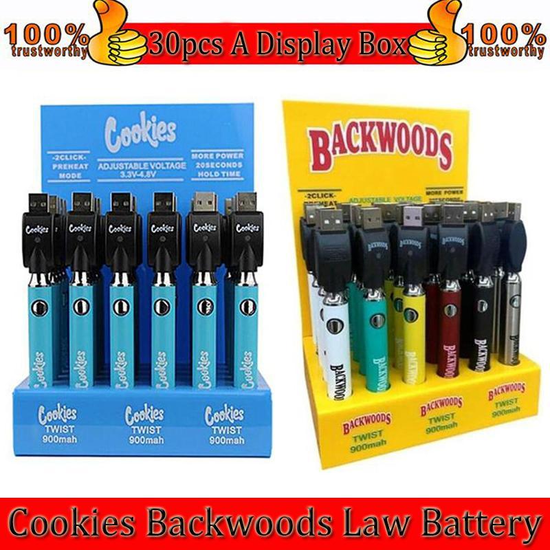 쿠키 backwoods 법률 트위스트 예열 Vv 배터리 900mAh 하단 전압 조정 가능한 USB 충전기 vape 펜 30pcs 디스플레이 상자 공장 도매