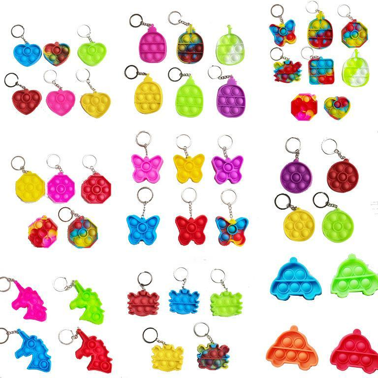 Bubble Poppers Push Keychain Kids Adults Novel Fidget Toy Bag Pendants Keychains Hangings Soft Squeeze Silicone Key Ring