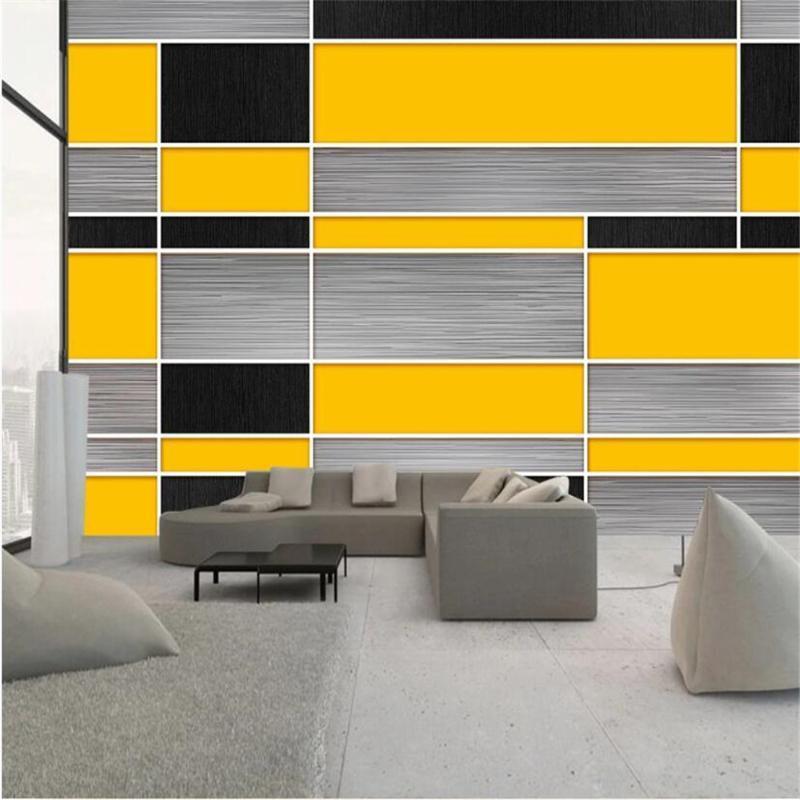 Milofi özelleştirilmiş büyük 3D baskı duvar kağıdı duvar Avrupa siyah, sarı ve gri geometrik mozaik dekoratif arka plan duvar duvar kağıtları