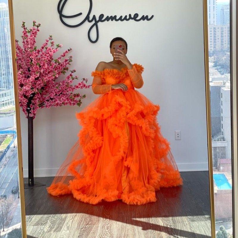Orange Tulle Maternity Prom Habille de promesse d'épaule Photoshoot Photoshoot Robes de maternité Front Open ou fermé Robes de fête à manches longues Photographie Robe de soirée