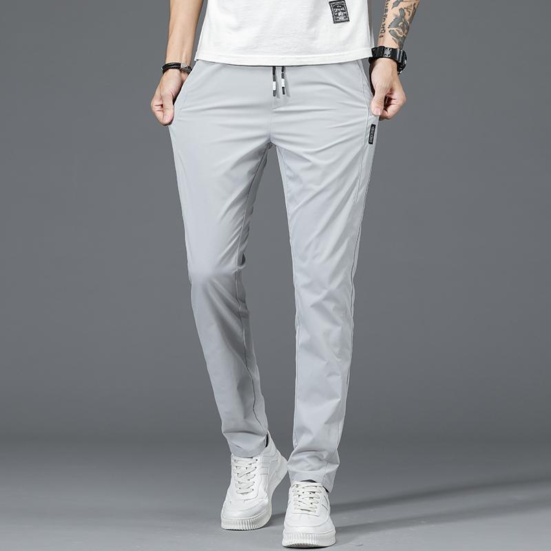 VERANO PANTALONES DE PISTA GRIS DE VERANO Hombre Casual de Hielo Seda suelta Straight Slim Korean Style Moda Primavera y otoño