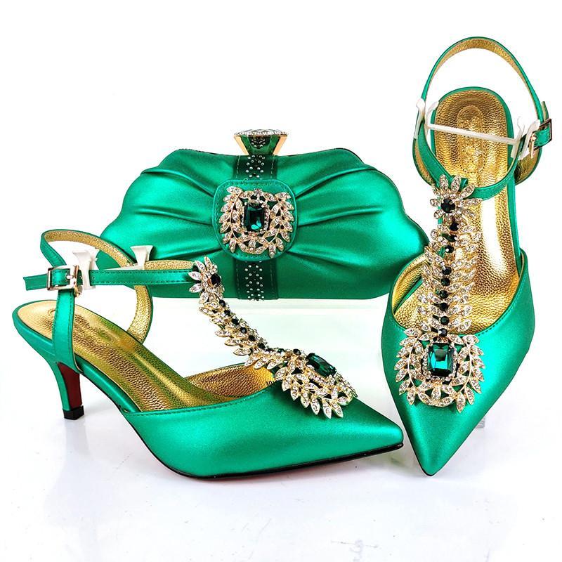 Elegantes zapatos de warmón verde Monedero con bombas y bolso africano de Rhinestone Set para el vestido MM1106, Heel 7cm