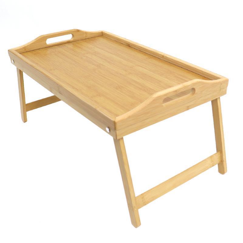 Plateau de lit de bambou pour meubles de camp pour manger, petit-déjeuner en avec pieds pliants et poignées Chambre à table, canapé chaise