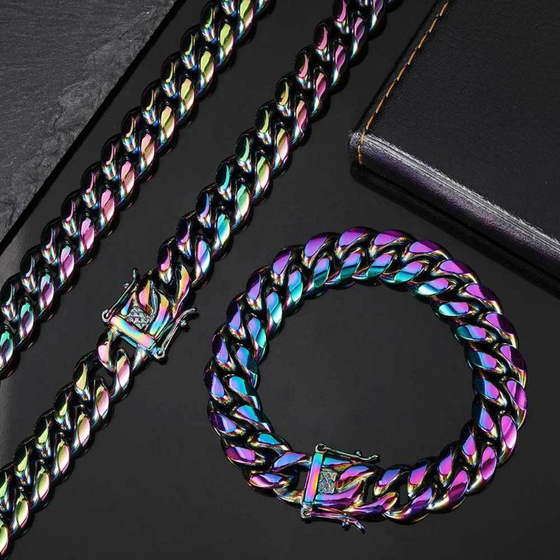 Link, Chain Hip Hop 6MM 8MM 10MM Multicolor IP Gold Plated Stainess Steel Cuban Link Chains Bracelet For Men Women Jewelry