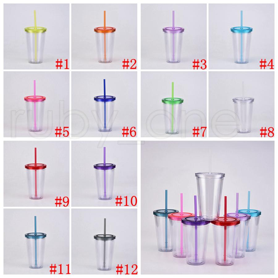 16oz copos transparentes copos claros plástico bebendo copo de suco com lábio e palha navio do mar 12Colors rra4298