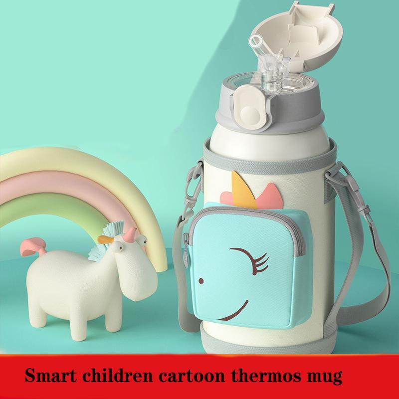 Smart Children's Thermos-Wasser-Tumbler 316 Edelstahl Cartoon Netter Halter Kinderbecher mit Strohbecher Hoher Wert