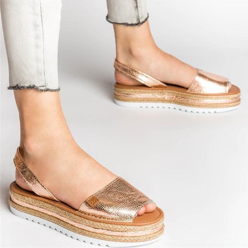 Sandali Piattaforma Slittamento donna Slip on Peep Toe Scarpe da donna Glitter PU in pelle PULD BASSATORE Fondo casual casual calzature femminile estate 2021