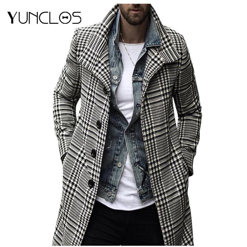 Yunclos Winterjacke Männer Langer Graben für männliche Plaid Revers Mantel Kausale Mäntel Streetwear Mode Outwear Herren Wollmischungen