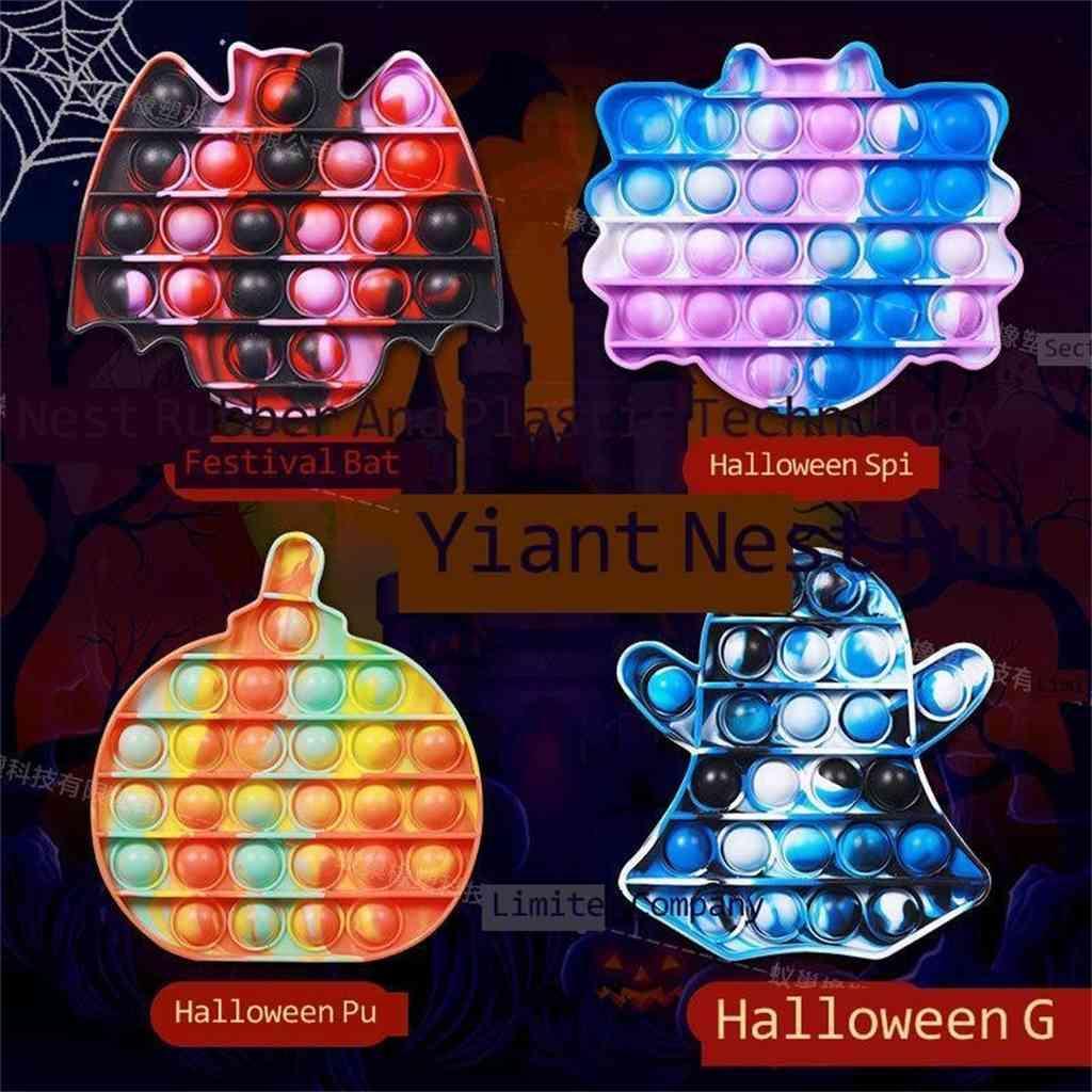 2021 Halloween Ghost Pumpkin Spider Bat Formas Pulseras Pop Fidget Toys Sensory Silicone Bubble Popper Puzzle de Finger Puzzle Navidad Niños Regalos Educación Early G78123A