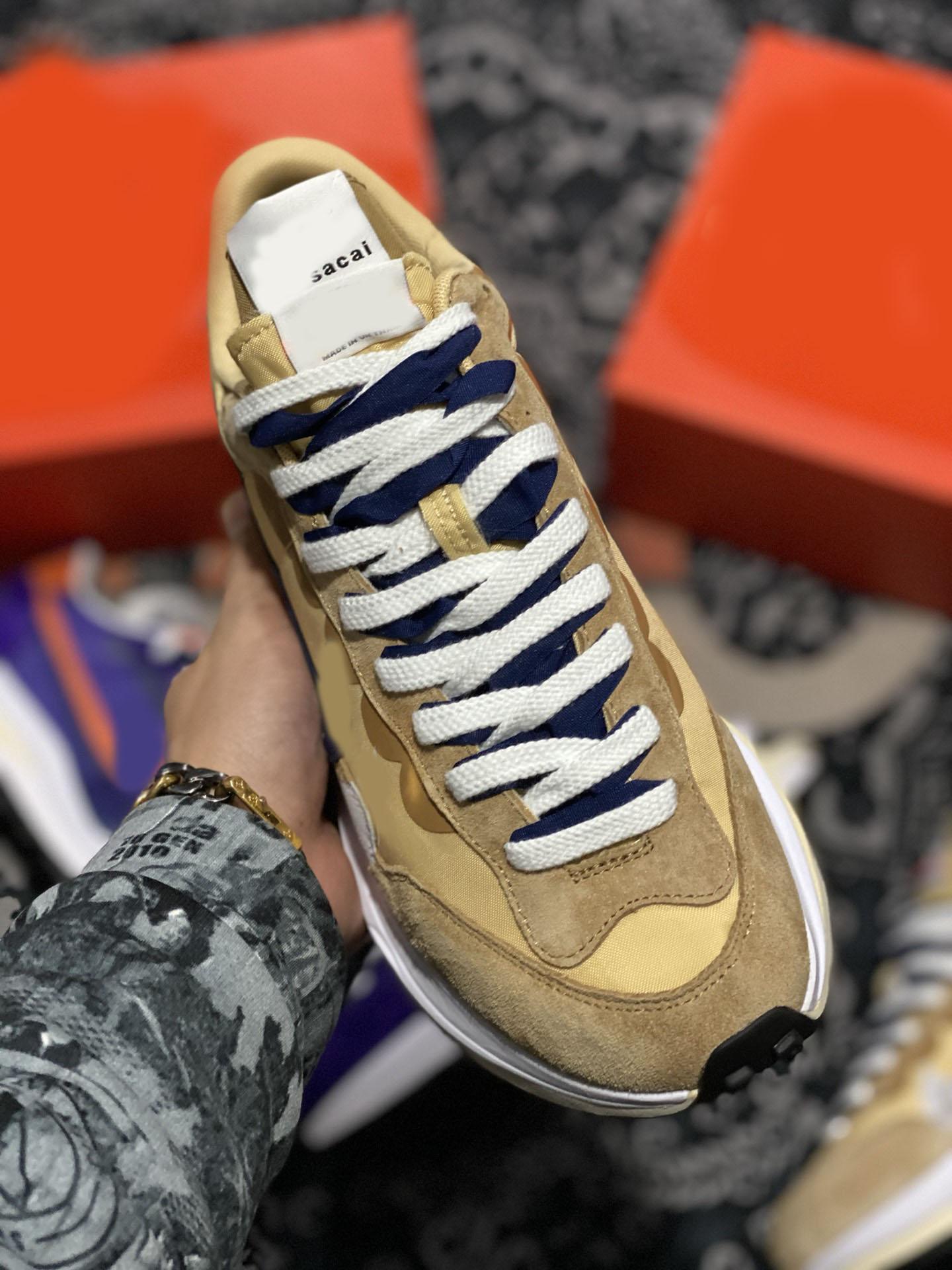 Лучшие подлинные Sacai Vaporwaffle мужские кроссовки Seaname Blue Void белый темный Iris Campfire Orange спортивная обувь с оригинальной коробкой