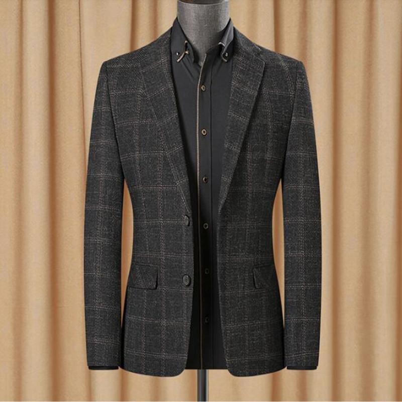 Giacca a strisce Blazer in lana da uomo Giacca a gomito Tweed Blazer Cappotto Cappotto Casual Casual