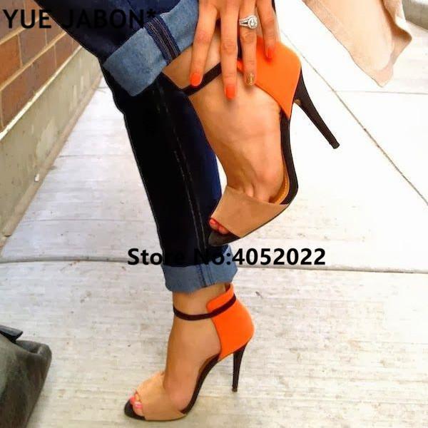 Seksi Kadınlar Karışık Renk Yüksek Topuklu Sandalet Yaz Turuncu Kristal Pompaları Ayakkabı Amerikan Chaussure Femme İnce
