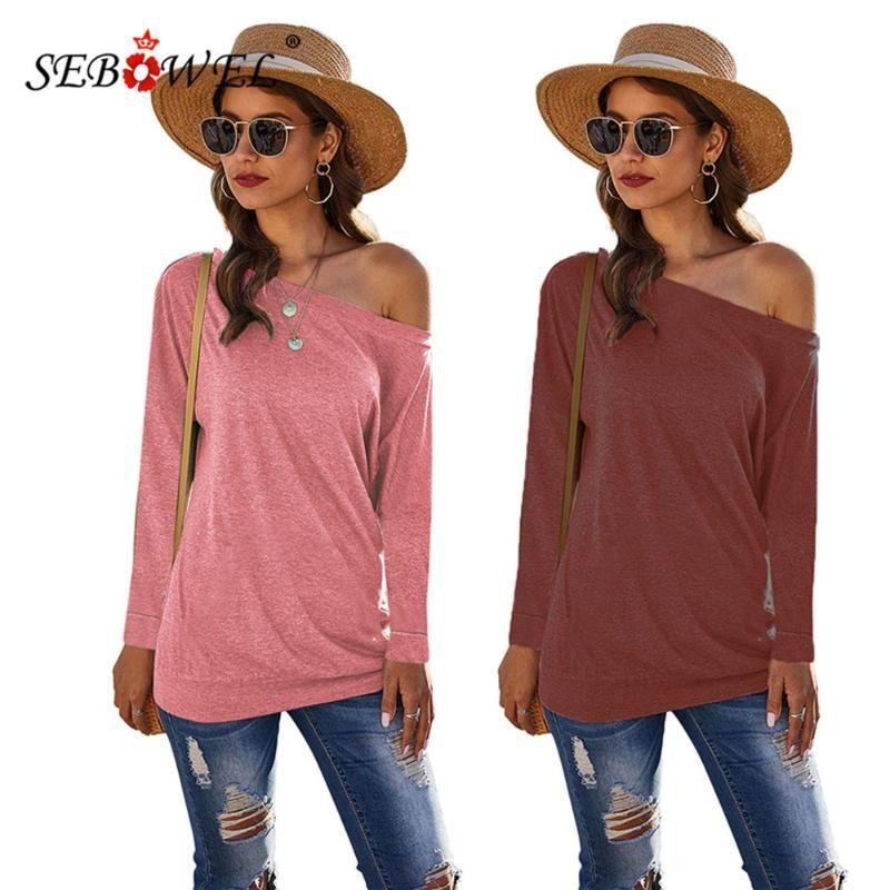 Kadın Uzun Kollu Kapalı Omuz Üst T-Shirt 2021 Sonbahar Bahar Kadın Rahat Tişörtleri Bayanlar Giysi Tee Boyutu S-XXL